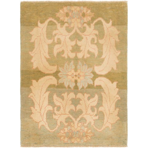 Hand Knotted Oushak Wool Area Rug - 4' 4 x 5' 9