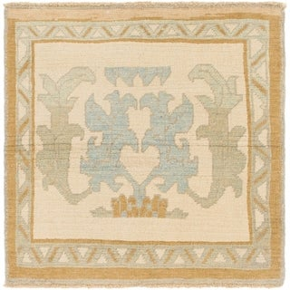 Hand Knotted Oushak Wool Square Rug - 3' 8 x 3' 10