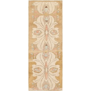 Hand Knotted Oushak Wool Runner Rug - 3' 10 x 11' 3