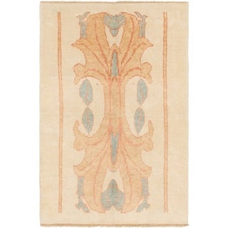 Hand Knotted Oushak Wool Area Rug - 4' 2 x 6' 3