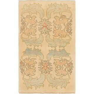 Hand Knotted Oushak Wool Area Rug - 4' x 6' 10