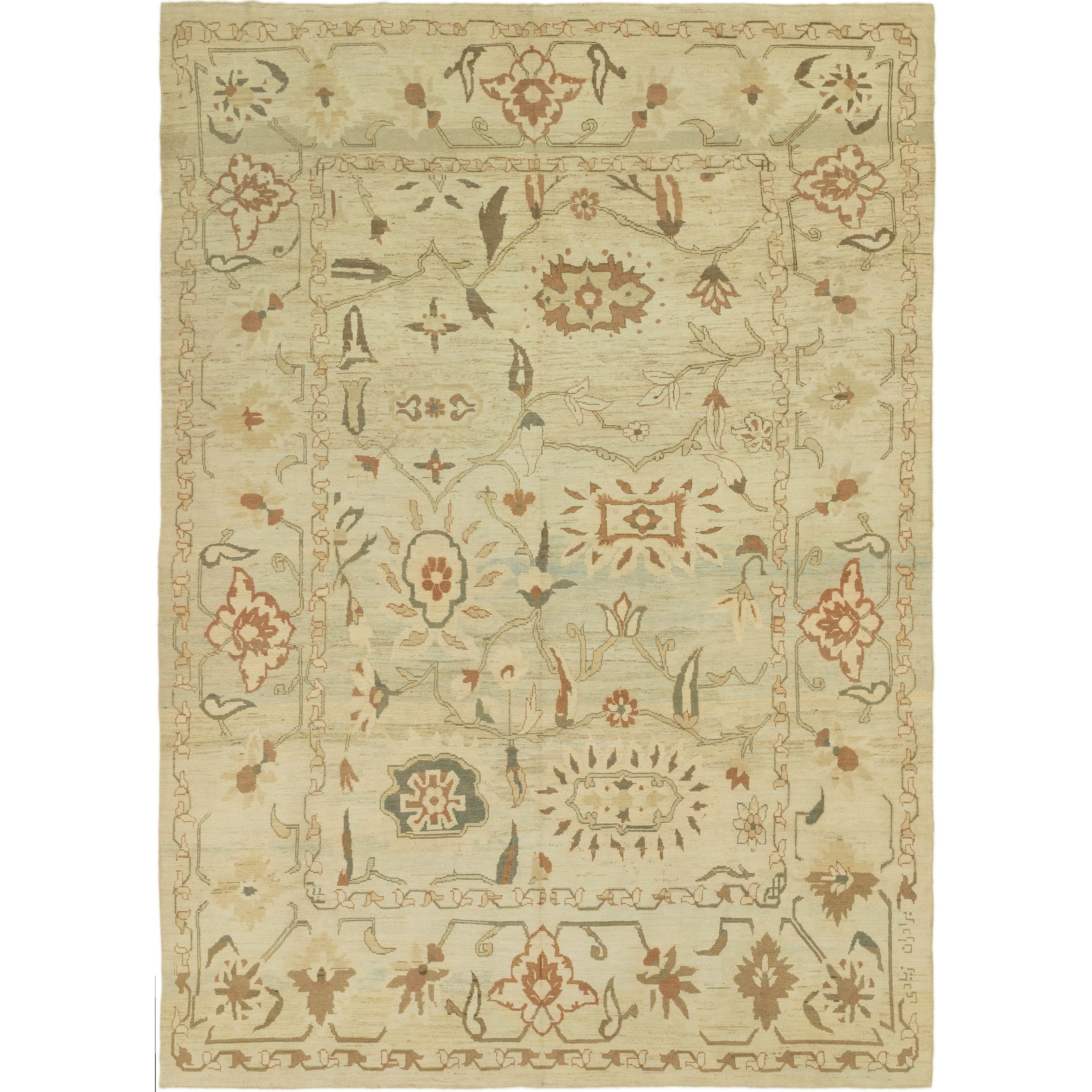 Hand Knotted Oushak Wool Area Rug
