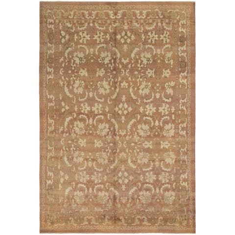 Hand Knotted Oushak Wool Area Rug - 12' 9 x 19' 2
