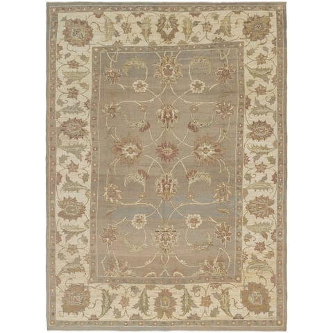 Hand Knotted Oushak Wool Area Rug - 11' 5 x 15' 8