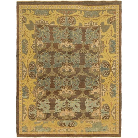 Hand Knotted Oushak Wool Area Rug - 10' 5 x 12' 8