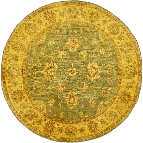Hand Knotted Over-Dyed Ziegler Wool Round Rug - 5' 2 x 5' 2