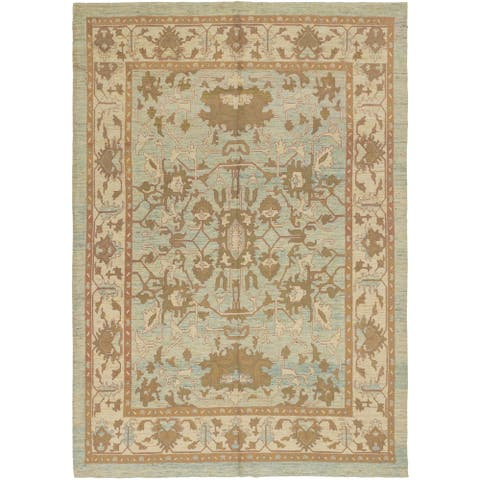 Hand Knotted Oushak Wool Area Rug - 10' 3 x 15' 2