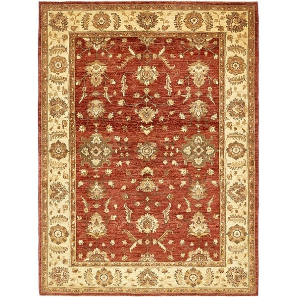 Hand Knotted Peshawar Ziegler Wool Area Rug - 5' 10 x 7' 10