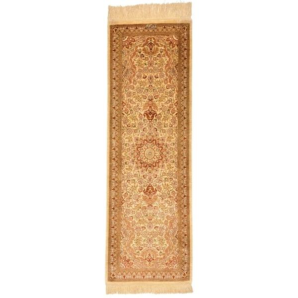 Hand Knotted Qom Silk Runner Rug - 1' 4 x 3' 10