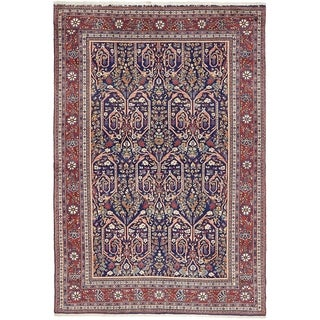 Hand Knotted Qom Wool Area Rug - 4' 4 x 6' 4