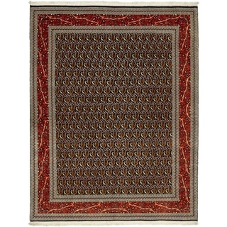Hand Knotted Qom Silk & Wool Area Rug - 5' x 6' 4
