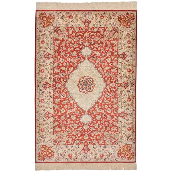Hand Knotted Qom Silk Area Rug - 3' 4 x 5'