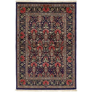Hand Knotted Qom Silk & Wool Area Rug - 3' 7 x 5' 1