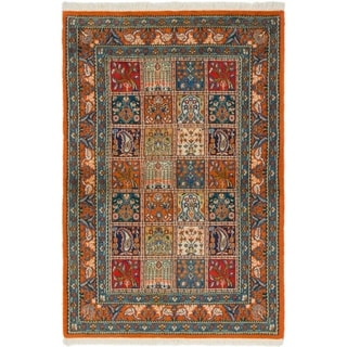 Hand Knotted Qom Wool Area Rug - 3' 3 x 5'