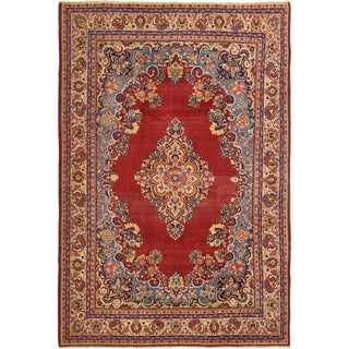 Hand Knotted Sarough Semi Antique Wool Area Rug - 7' X 10'