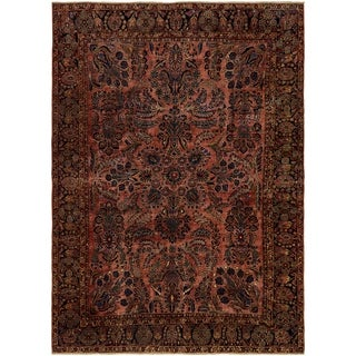 Hand Knotted Sarough Antique Wool Area Rug - 8' 2 x 11' 7
