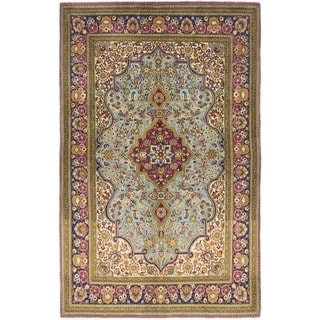 Hand Knotted Qom Wool Area Rug - 4' 4 x 6' 10
