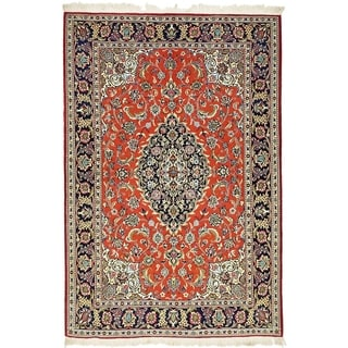 Hand Knotted Qom Kork Wool Area Rug - 4' 6 x 6' 8