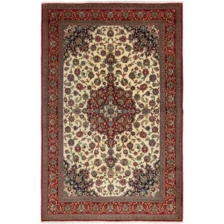 Hand Knotted Qom Wool Area Rug - 6' 8 x 10' 3