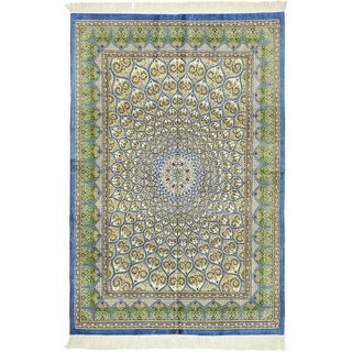Hand Knotted Qom Silk Area Rug - 4' 4 x 6' 6