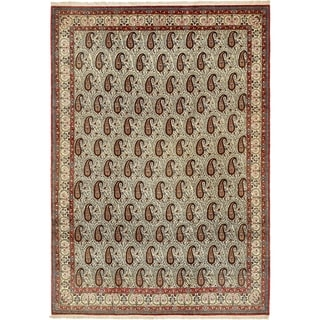 Hand Knotted Qom Wool Area Rug - 8' 2 x 11' 6