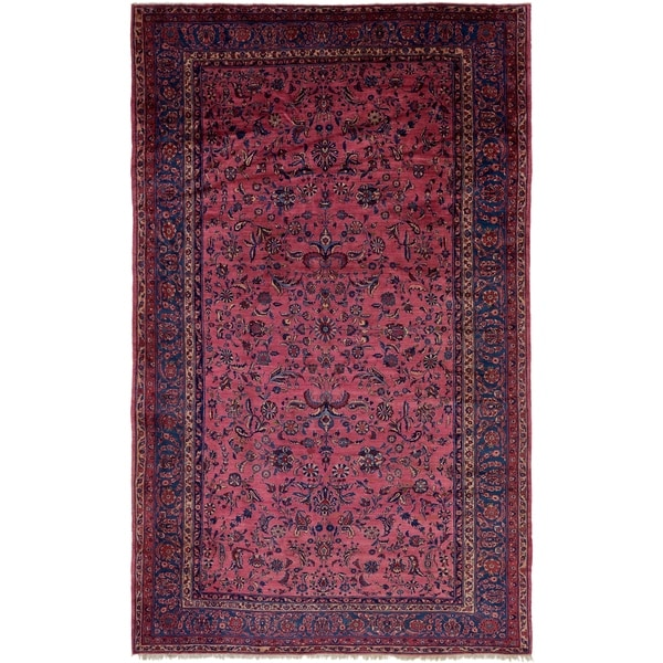 Shop Hand Knotted Sarough Antique Wool Area Rug 12 X 20 On