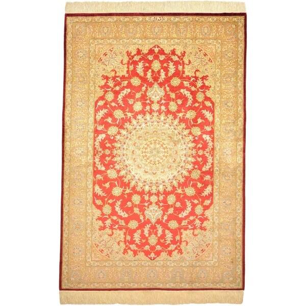 Hand Knotted Qom Silk Area Rug - 3' 3 x 4' 11