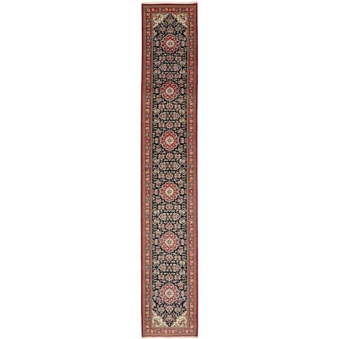 Hand Knotted Qom Wool Runner Rug - 2' 7 x 16' 2
