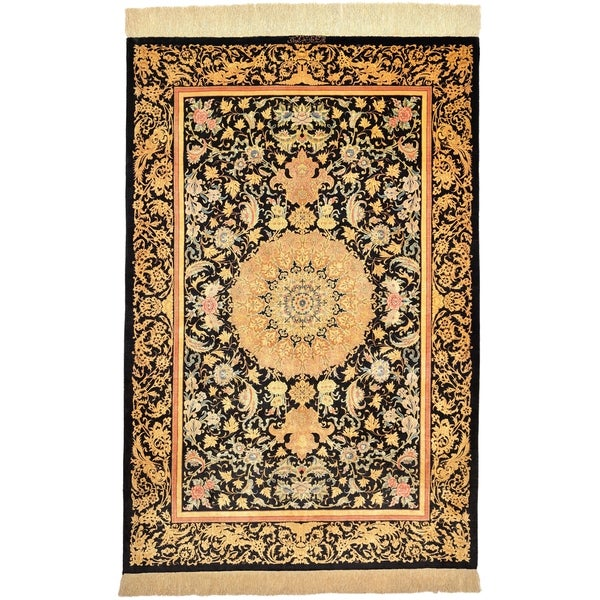 Hand Knotted Qom Silk Area Rug - 3' 3 x 4' 11