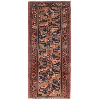 Hand Knotted Saveh Semi Antique Wool Runner Rug - 3' 10 x 9' 6