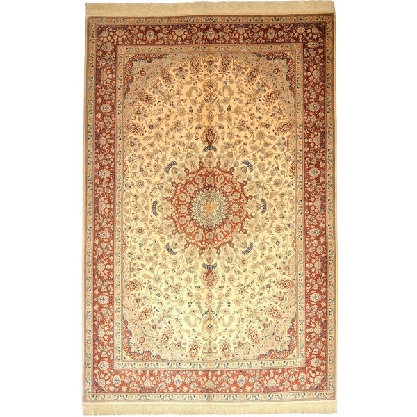 Hand Knotted Qom Silk Area Rug - 6' 5 x 9' 11