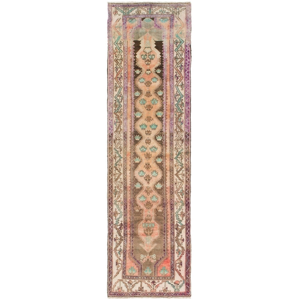 Hand Knotted Saveh Semi Antique Wool Runner Rug - 3' 7 x 12'