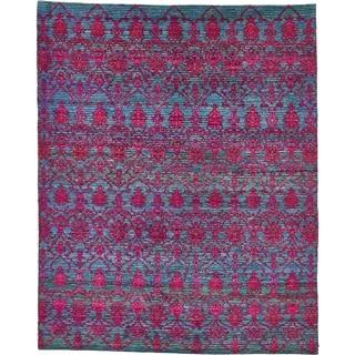 Hand Knotted Sari Silk Area Rug - 7' 7 x 9' 5