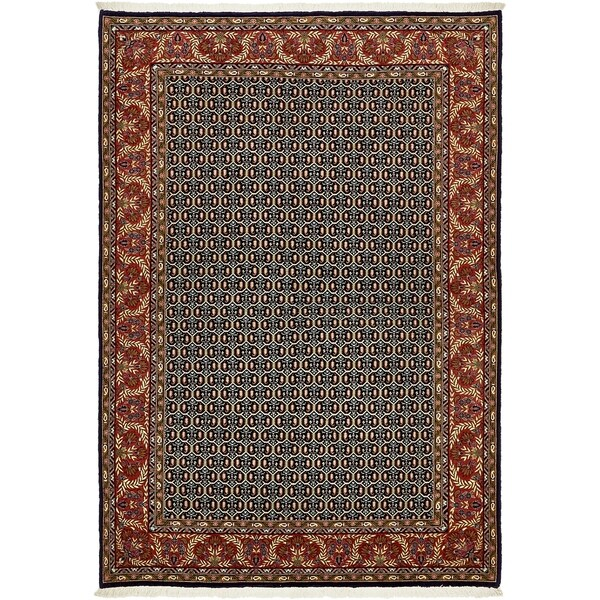 Hand Knotted Qom Wool Area Rug - 4' 7 x 6' 7