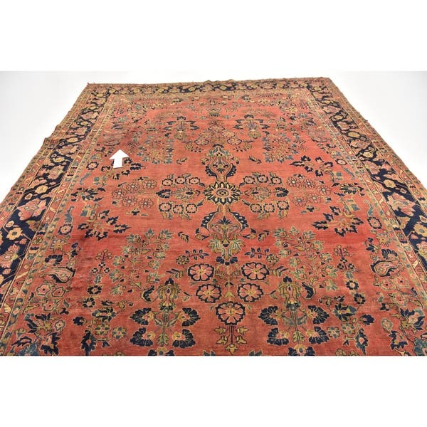 Hand Knotted Sarough Antique Wool Area Rug 8 10 X 12 On Sale Overstock 24049632