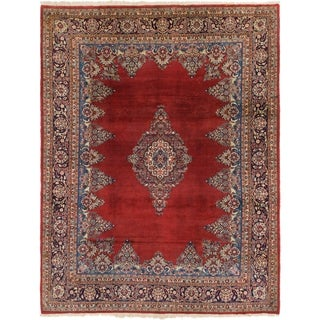 Hand Knotted Sarough Semi Antique Wool Area Rug - 8' x 10' 6