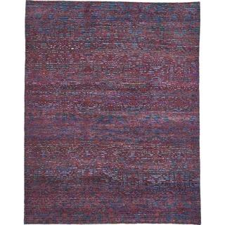 Hand Knotted Sari Silk Area Rug - 7' 8 x 9' 9