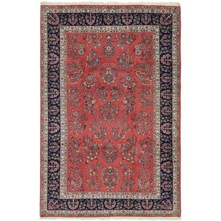 Hand Knotted Sarough Wool Area Rug - 6' 6 x 9' 10