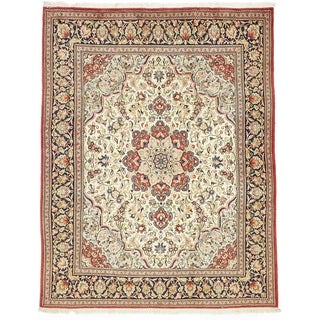 Hand Knotted Qom Wool Area Rug - 6' 4 x 8' 1