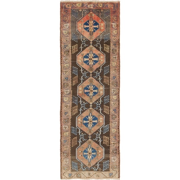 Hand Knotted Saveh Semi Antique Wool Runner Rug - 3' 4 x 10'