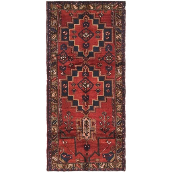 Hand Knotted Saveh Semi Antique Wool Runner Rug - 3' 5 x 7' 6