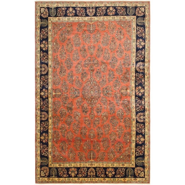 Shop Hand Knotted Sarough Wool Area Rug 12 9 X 20 7 On Sale
