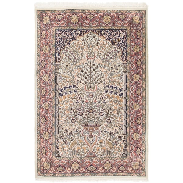 Hand Knotted Sarough Wool Area Rug - 4' 2 x 6' 4