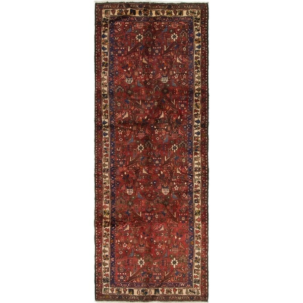 Hand Knotted Roodbar Semi Antique Wool Runner Rug - 3' 10 x 9' 10