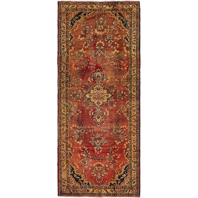Hand Knotted Shahrbaft Antique Wool Runner Rug - 4' 4 x 10' 6