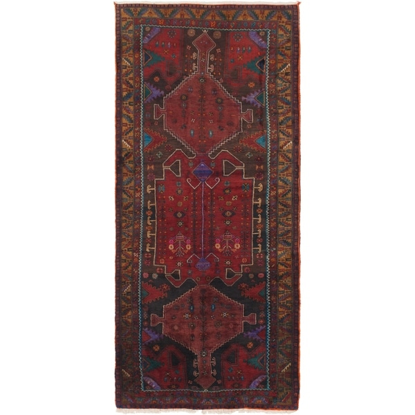 Hand Knotted Sarab Semi Antique Wool Runner Rug - 4' 4 x 10' 4