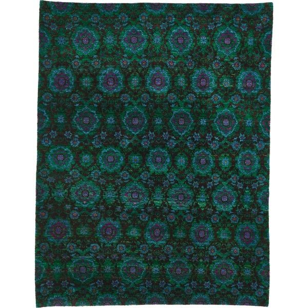 Hand Knotted Sari Silk Area Rug - 7' 10 x 10' 2