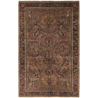 Hand Knotted Sarough Semi Antique Wool Area Rug - 4' x 6' 4