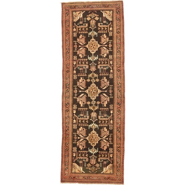Hand Knotted Saveh Semi Antique Wool Runner Rug - 3' 5 x 9' 10