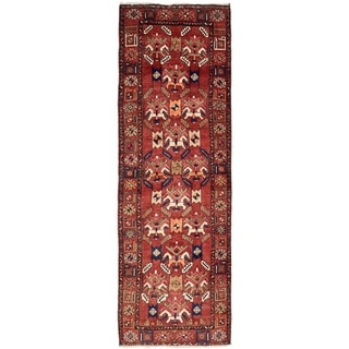 Hand Knotted Sarab Semi Antique Wool Runner Rug - 4' 1 x 12' 11